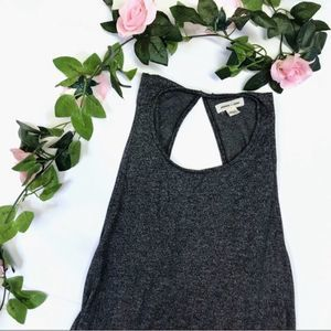 🌻Silence + Noise Gray Cross Back Marled Tank Top